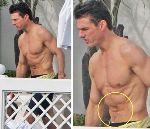 Tom Cruise - a man with cellulite